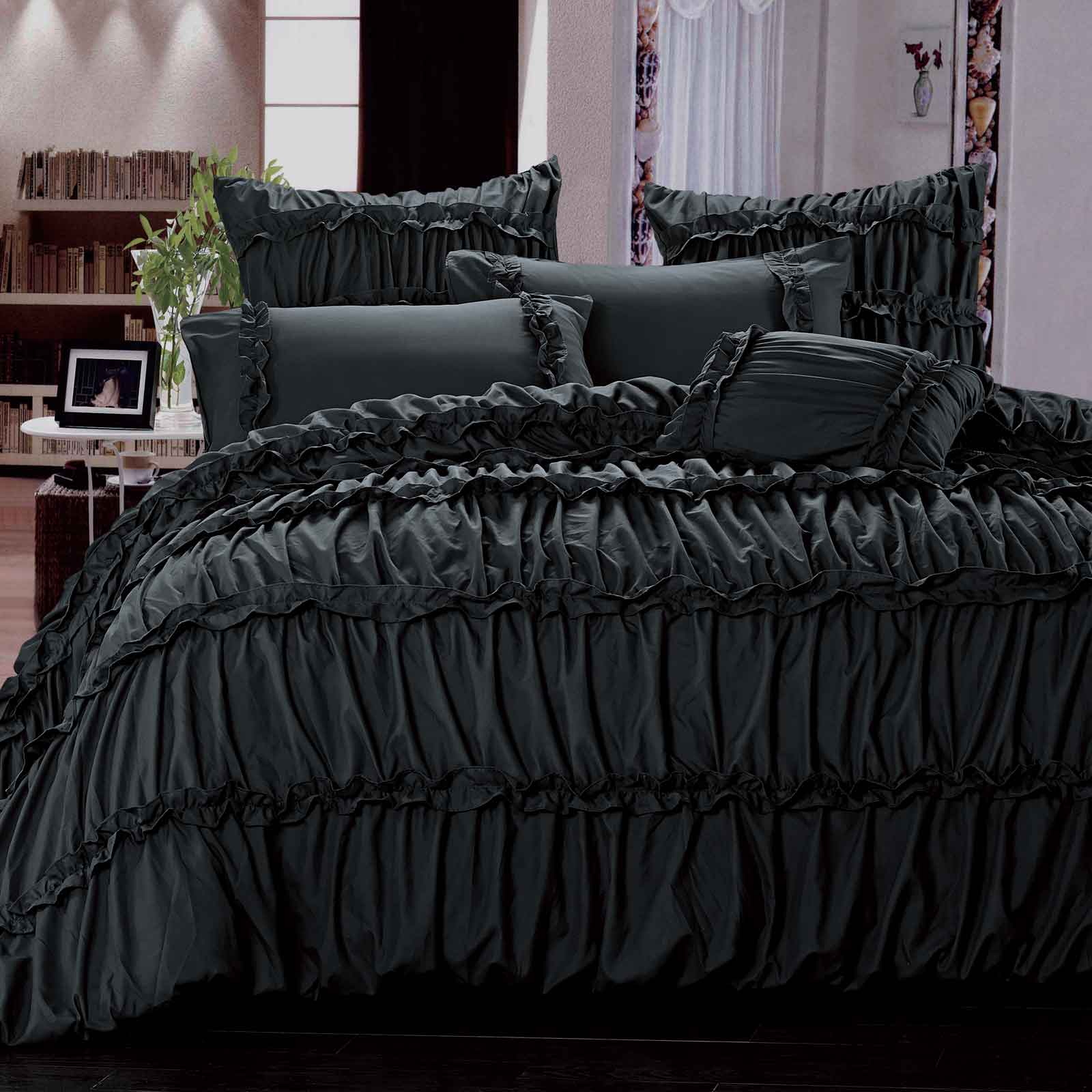 Charlotte King Queen Size Duvet Quilt Cover Set Black 3pcs Bedding Set Bed Linen Ebay