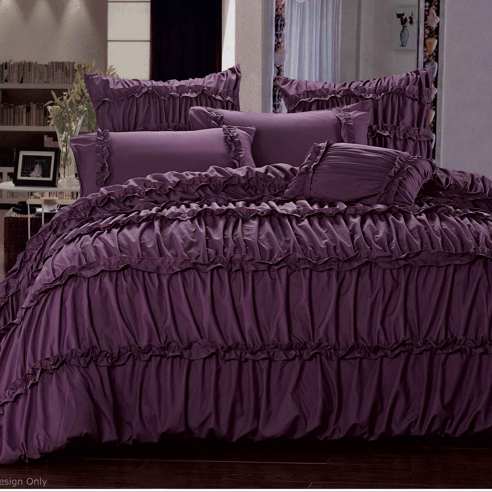 charlotte plum purple ruffle queen king quilt cover set 3pcs with pillowcases. Black Bedroom Furniture Sets. Home Design Ideas
