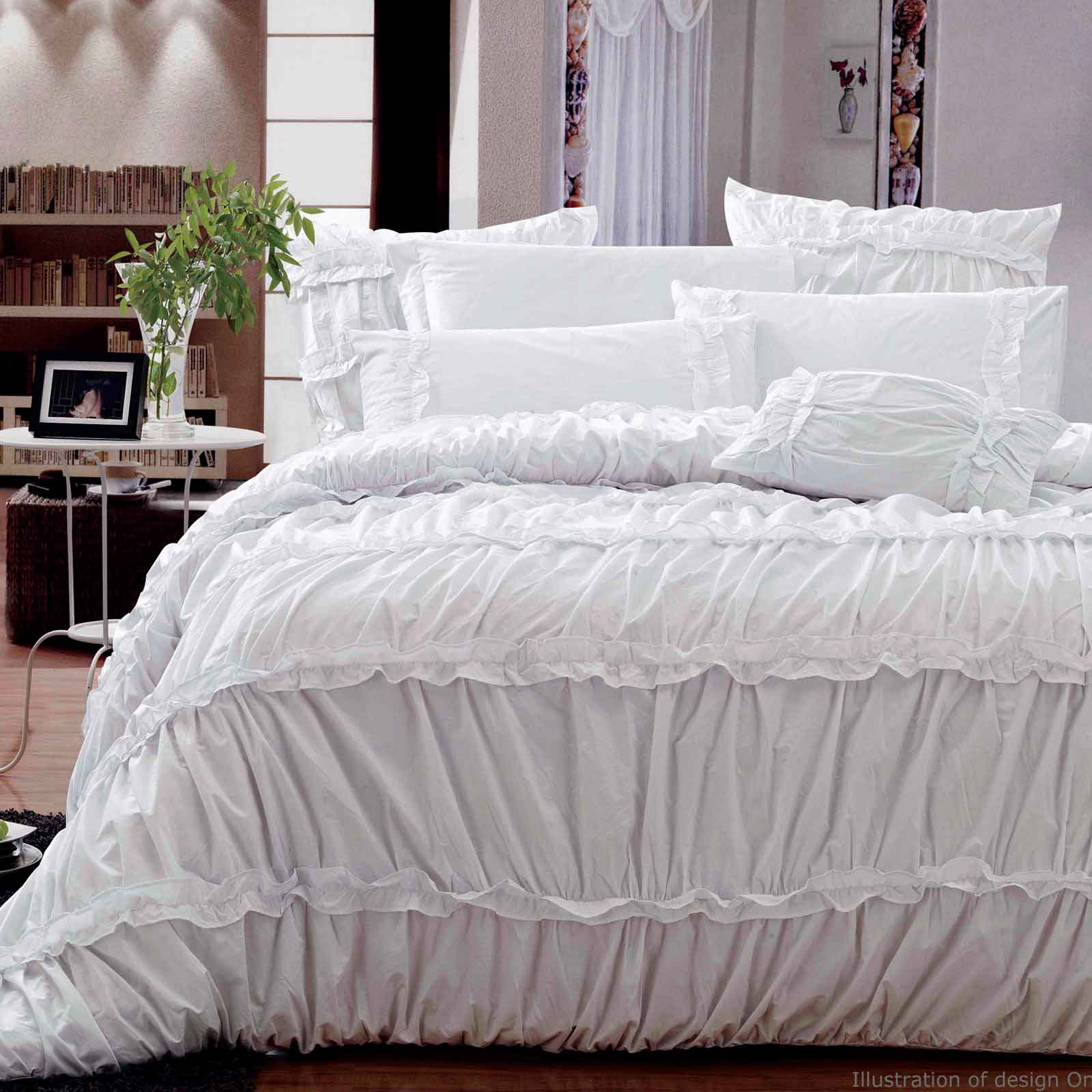 100-Cotton-King-Duvet-Quilt-Cover-Set-Ruched-Design-Ruffle-Bed-linen-B00001K
