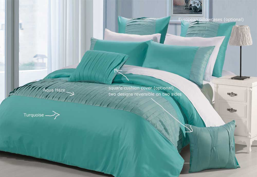 Molise Turquoise Queen King Quilt Cover Set New Duvet